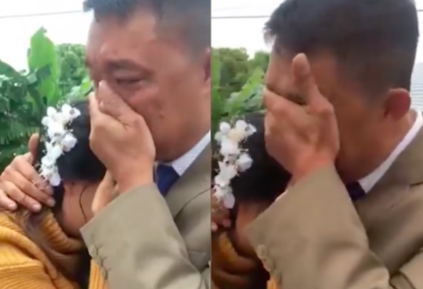 xúc động khoảnh khắc cha tiễn con gái đi lấy chồng