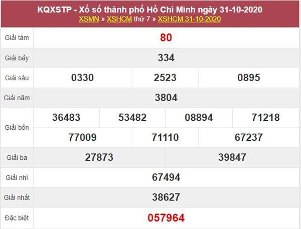 Thống kê XSHCM 2/11/2020 chốt lô bạch thủ Hồ Chí Minh thứ 2